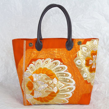 "Orange Kimono Tango Bag ""Love Birds"" (Japanese Kimono Bag; Silk Bag; Japanese Bag Kimono Tote Bag; Orange tote bag, Japanese bag, tote)"