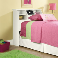 Twin size White Bookcase Headboard with Storage - Made in USA