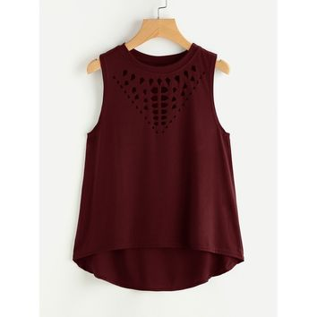 Laser Cut Dip Hem Tank Top BURGUNDY