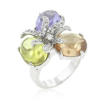 Triple Bead Floral Ring, size : 09