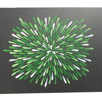 Painting, Green and White, Aboriginal Inspired, Abstract, 18 X 24