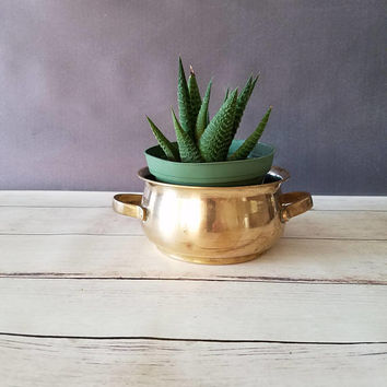 Brass Pot/ Brass Planter/ Small Brass Pot/ Brass Decor/ Indoor Planter/ Succulent Planter/ Succulent Pot/ Brass Pot with Handles
