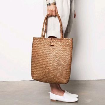 Summer Bag for Beach Big Straw Bags Handmade Woven Tote Women  Vintage Shopping Shoulder Bags