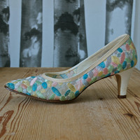 Vintage Shoes 1960's/70's Risque Cream with Blue and Pink Embroidery size 6.5AA