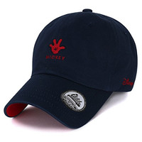 Disney Cotton Embroidery Cute Mickey Mouse Hand Logo Adjustable Hat Baseball Cap (ballcap-1316-1)