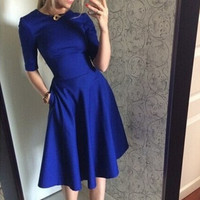 Blue Short Sleeve Flounced Dress