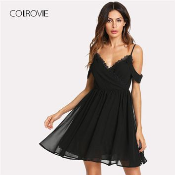 COLROVIE Lace Trim Wrap Front Cold Shoulder Sexy Dress 2018 Short Sleeve Backless Zipper Female Dress Fit And Flare Party Dress