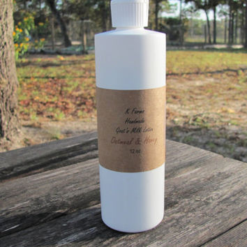 Handmade Goat's Milk Lotion, Save on Large 12 oz Squeeze Bottle, Oatmeal & Honey, Non-Greasy Face/Body Moisturizer, Dry Skin, Eczema Relief