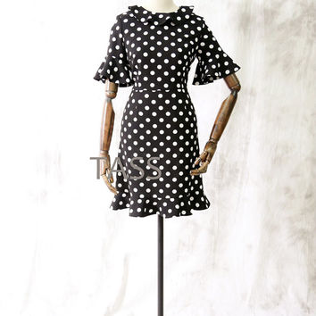 Dot Black White Dress, Short Mini Casual Dress, Short Sleeves Summer Skirt, Custom Black White Dresses, Office Dress, Day dress