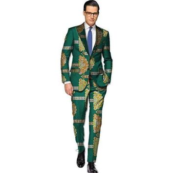MDIGON African blazers and trousers men fashion africa print dashiki suits