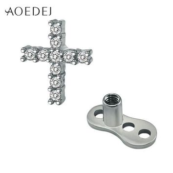 ac ICIKO2Q AOEDEJ Crystal Cross Dermal Anchor Piercing Jewelry Titanium Piercing Skin Diver Dermal Piercing Stainless Steel Body Jewelry