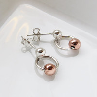 Small Silver and Copper Earrings - Fine Silver and copper Earrings - Everyday Jewelry - Handmade Jewelry