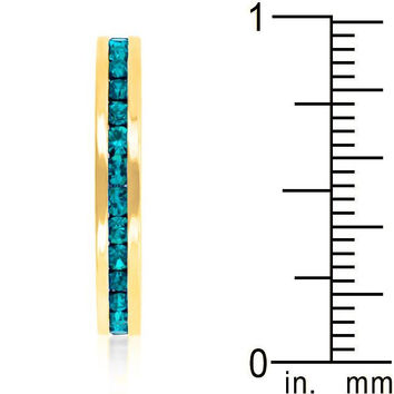 Stylish Stackables Turquoise Crystal Gold Ring, size : 10