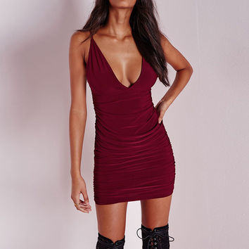 Strap V-Neck Bodycon Dress