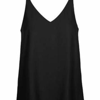 Plunge V-Neck Cami - Black