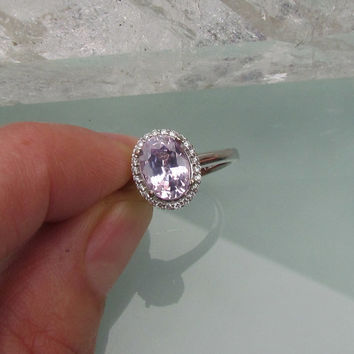Orchid Purple Sapphire (just under 2cts) 14k White Gold 14k Rose Gold or 14k Yellow Gold Diamond Halo Engagement Ring Weddings Anniversary