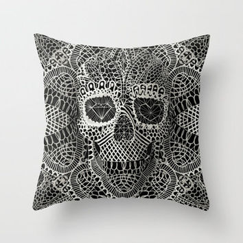 Lace Skull Throw Pillow by Ali GULEC | Society6