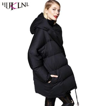 HIJKLNL New 2017 Long Down Jacket Women High Quality Down Coats Oversized Hooded Parkas Thick Warm Outwear Abrigos Mujer HB414