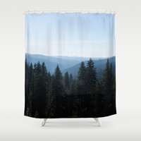 Photo of Scenic View of Tree Lined Valley Shower Curtain by GriffingPhotography