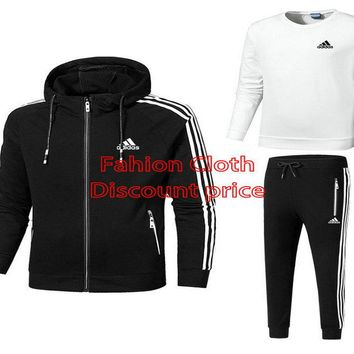 Adidas 2018 Spring Casual Mens Three-Piece Suit L-4XL 18019 White Black