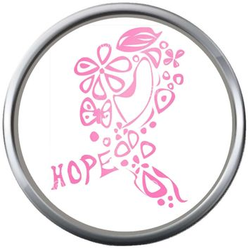 Cool Art Hope Save The Tatas Boobies Pink Breast Cancer Ribbon Survivor Cure By Awareness 18MM - 20MM Snap Jewelry Charm