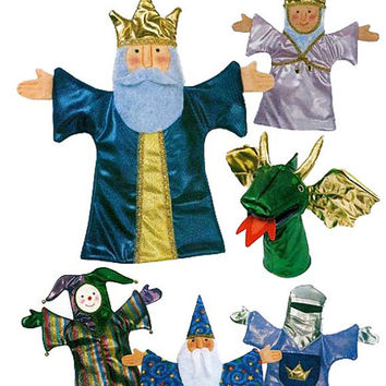 BUTTERICK 3230 Medieval Hand Puppets Theater - King, Queen, Wizard, Dragon Jester, Knight, Stage & Curtains -  UNCUT Craft Sewing Pattern