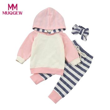 3pcs Toddler Baby Boy Girl Clothes Set Hoodie Striped Sweatshirt Tops+Long Pants+Headband Autumn Winter Clothes Outfits Sets