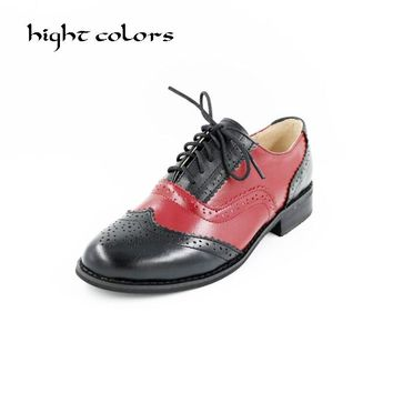 New 2018 Fashion Vintage Neutra Women Flat Lace Up Brogue Oxford Shoes For Ladies Casual Flat Shoes Size 34-43