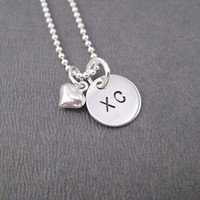 LOVE XC Puffed Heart Sterling Silver Cross Country Running Necklace - Choose 16, 18 or 20 inch Sterling Silver Ball Chain - XC Love