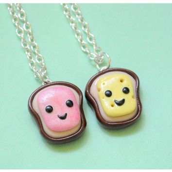 Handmade Ham & Cheese Best Friend Necklaces (Also Great for Couples!)