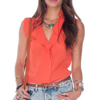 Most Wanted Sleeveless Blouse in Orange :: tobi