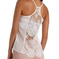Crochet Racerback Sheer Tank Top by Charlotte Russe
