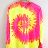 Tropical Neon Tie-Dye Long Sleeve Unisex Tee