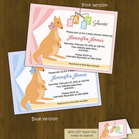 Kangaroo BABY SHOWER invitation - Kangaroo Baby Shower Printable Invitation (pink or blue) - with thank you note to match