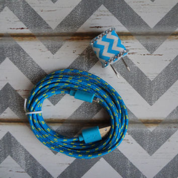 Choose Your Style New Super Cute Jeweled Chevron Design Wall iphone 5/5s Charger + 10ft Braided Cable Cords