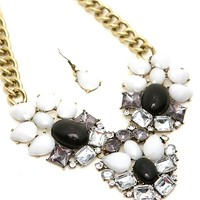 Chunky Black White Faceted Stone Necklace Set