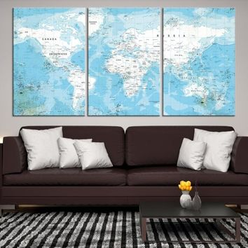 47973 - Large Wall Art Push Pin World Map, Push Pin, World Map, Wall Art Canvas, Push Pin Map, Navy Blue Wall Art, Pushpin World Map Print,