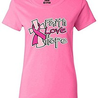 Shop4Ever Faith Love Hope Women's T-Shirt Breast Cancer Awareness Shirts