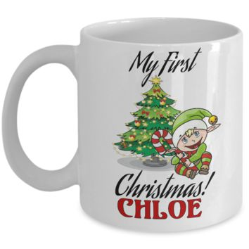 First Name Personalized X-Mas 2016 Babies Elf Candy Mug - Christmas Gift Mom & Dad - Fun Personalization Gift For Baby & Parents