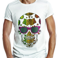 Distinkt Youth Multicolored Candy Skull Crew Neck T shirt