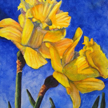 Flower Painting Art, Original Daffodil Painting, Yellow Daffodil Watercolor Art, Spring Floral Wall Decor, Flower Gift by Barbara Rosenzweig