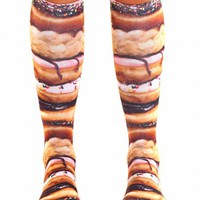 STACKED DONUTS KNEE HIGH SOCKS (BROWN)