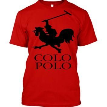 'Colo Polo Game Chicken Running' Funny Slogan Men Women Unisex T Shirt Top Tee (105) R