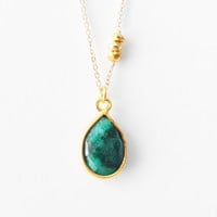Emerald Faceted Drop and Pyrite Necklace