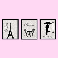 Paris Themed Wall Art Prints, Set of 3, Black on Vintage Gray CUSTOMIZE YOUR COLORS 8x10 Prints, home and nursery decor print art baby decor