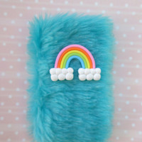 Pastel Kawaii Fur Phone Case, Fuzzy Furry iPhone 6 Sleeve Pouch, Pastel Rainbow, Sweet Lolita, Fluffy iPhone 5 Case, Pastel Faux Fur