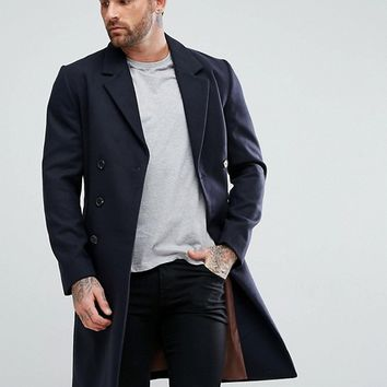 River Island Smart Overcoat In Navy at asos.com