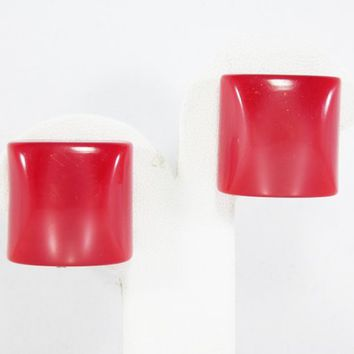 Square Red Lucite Clip on Earrings Mid Century Vintage 1940s 1950s Moon Glow Style Block Design Early Plastic Jewelry