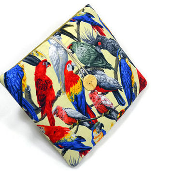 Hand Crafted Tablet Case from Parrots in Tree  Fabric /Case for: iPadmini, Kindle Fire HD7, Samsung Galaxy Tab7, Google Nexus 7,Nook HD 7