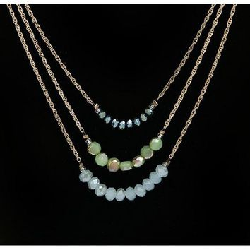Layered Necklace-Multi Layered Beaded Horizon Necklace- Layered Necklaces for Women